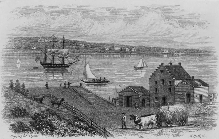 Engraving showing boats on East River