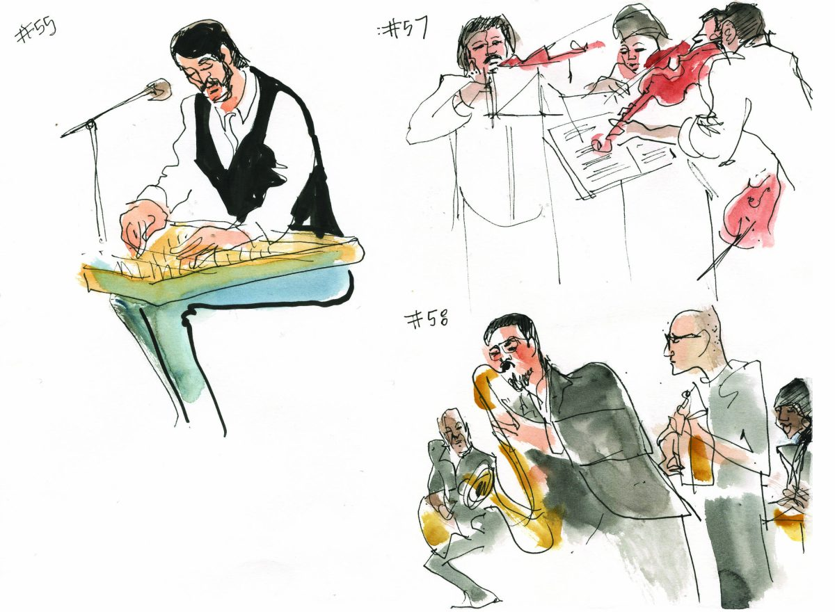Sketches of musicians performing during MTA Arts & Design auditions at Grand Central Terminal by Joan Chiverton