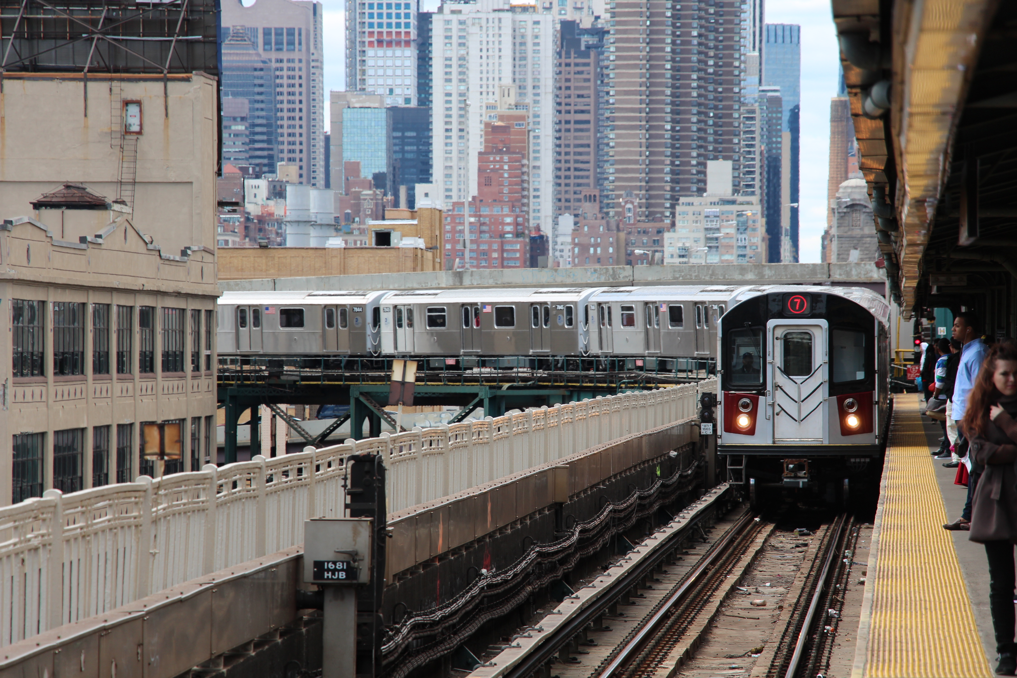 7 Train running on elevated tracks in Long Island City