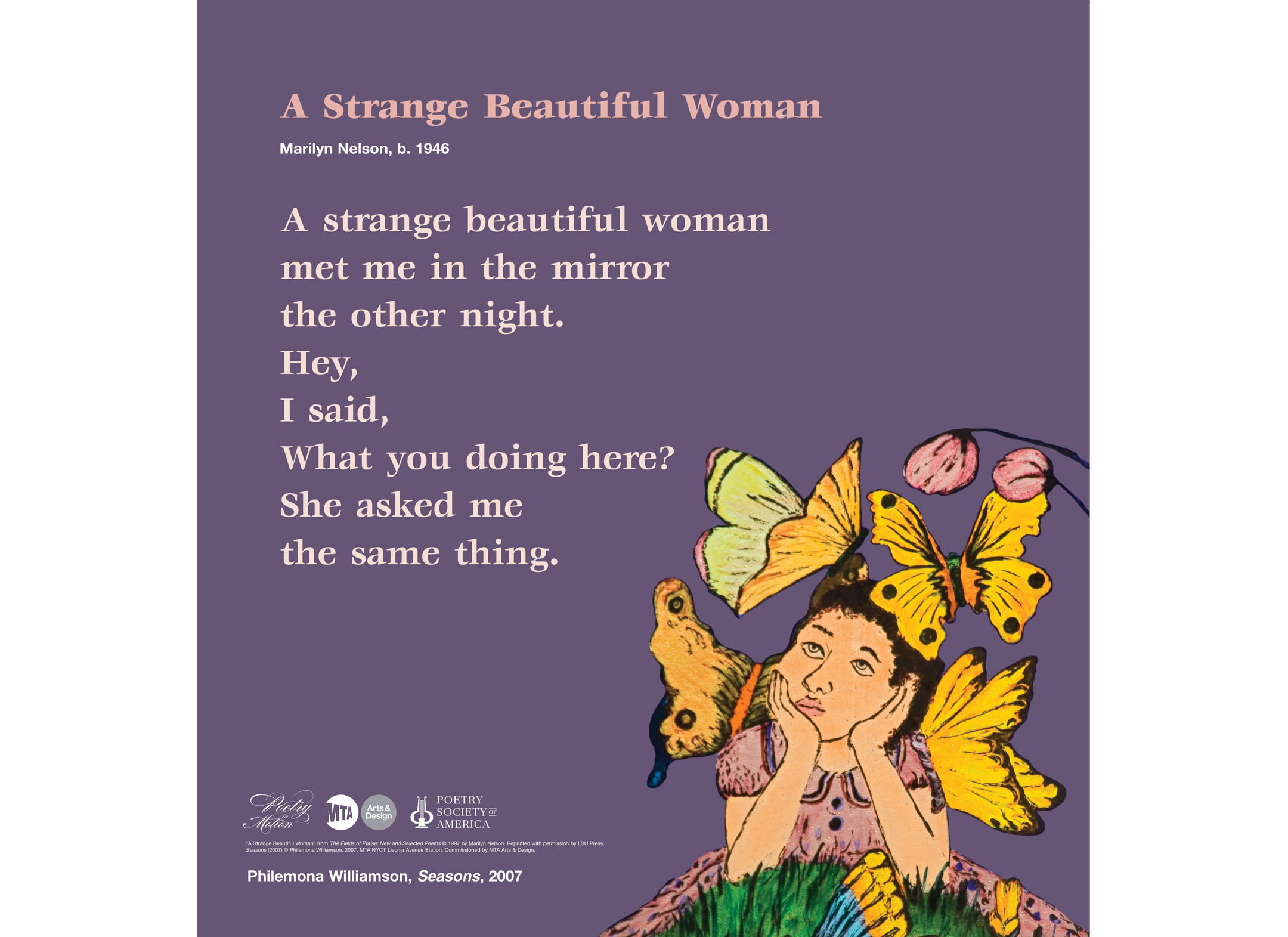 "Car Card from Poetry in Motion program, featuring poem ""A Strange Beautiful Woman"" by Marilyn Nelson with artwork of woman gazing at butterflies on a purple background by Philemona Williamson."
