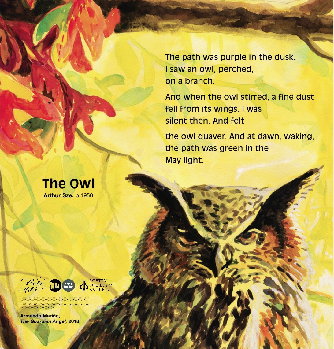 "A poem entitled ""The Owl"" by Arthur Sze, in a poster from MTA Arts & Design."